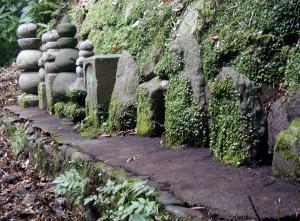 親鸞聖人の墓標の後ろに並ぶ